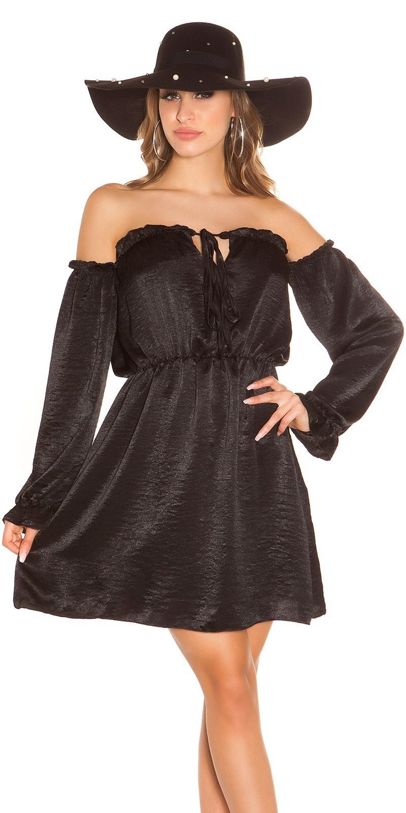 Sexy mini jurkje carmen halslijn satijn look zwart