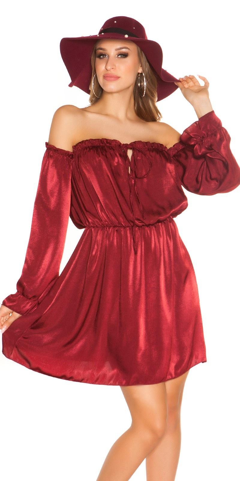 Sexy mini jurkje carmen halslijn satijn look bordeaux