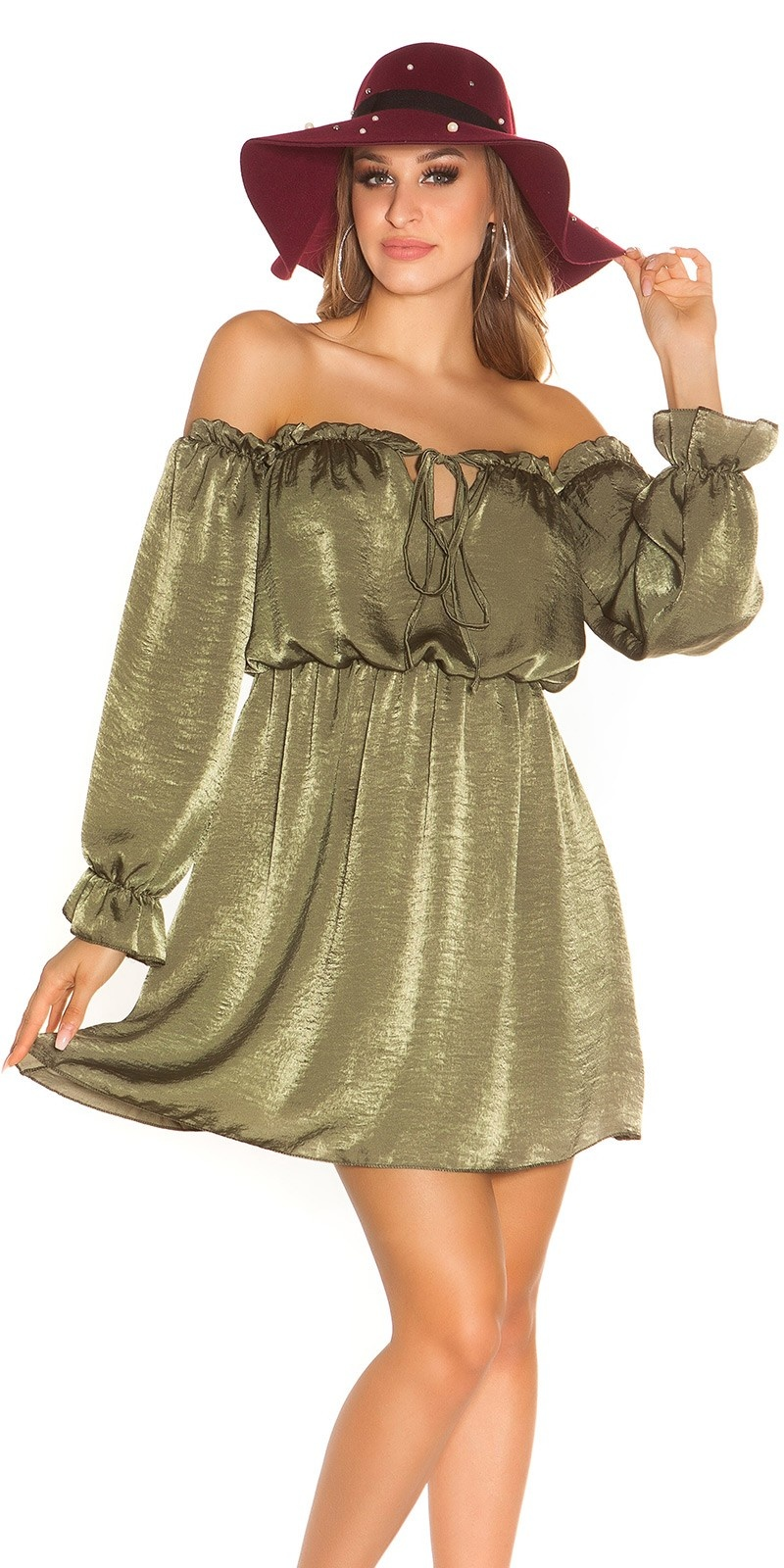 Sexy mini jurkje carmen halslijn satijn look khaki