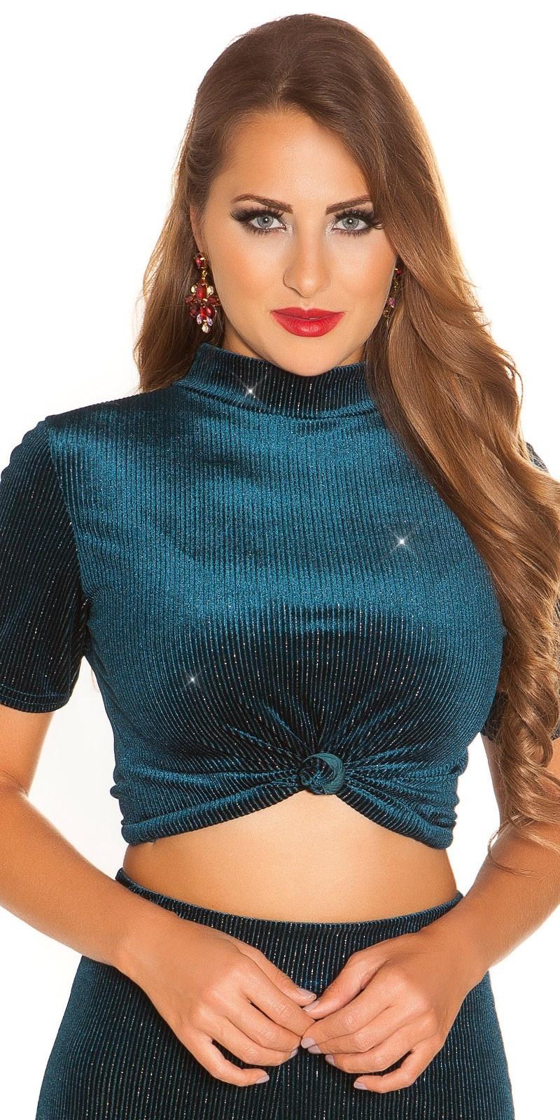 Sexy feest uitgaans top fluweel look & glitter draden saffierblauw
