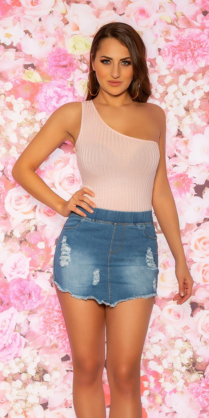 Sexy een-schouder crop top roze