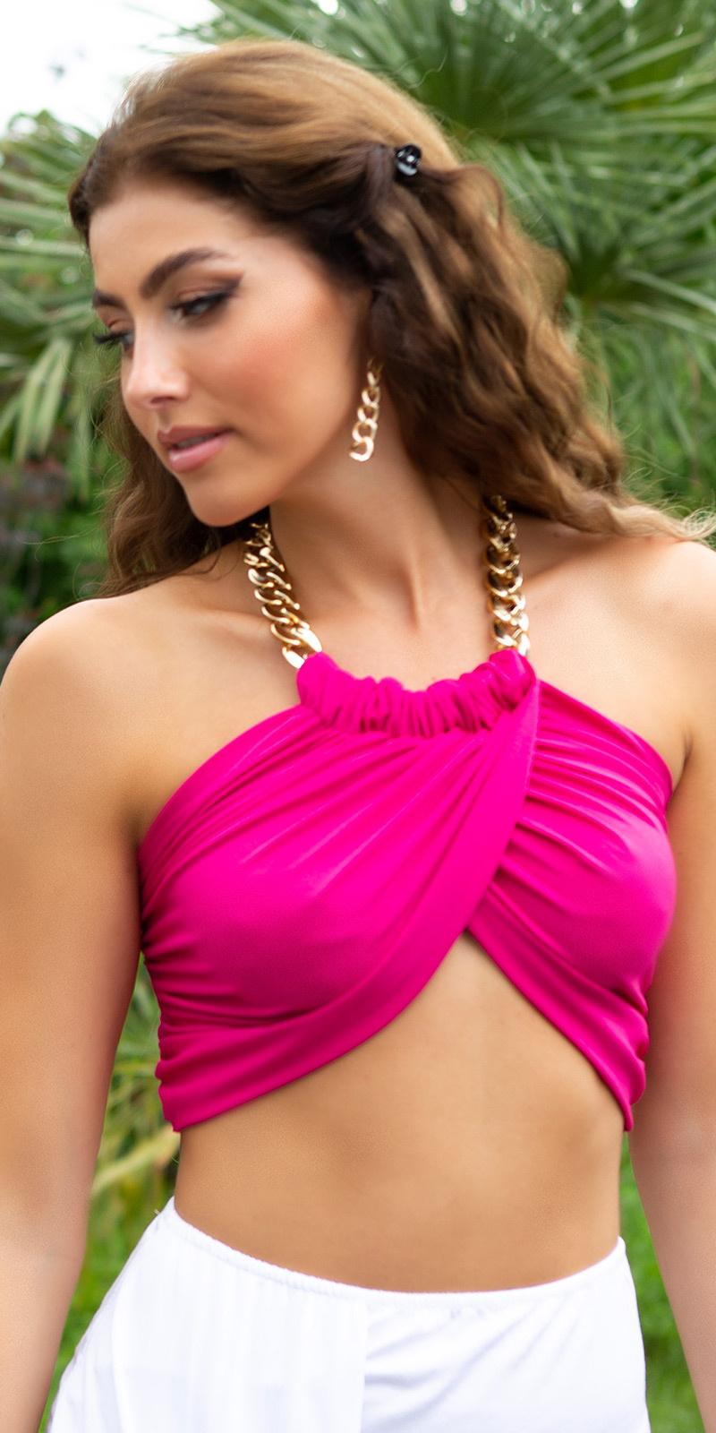 Sexy zomer halter top met ketting roze