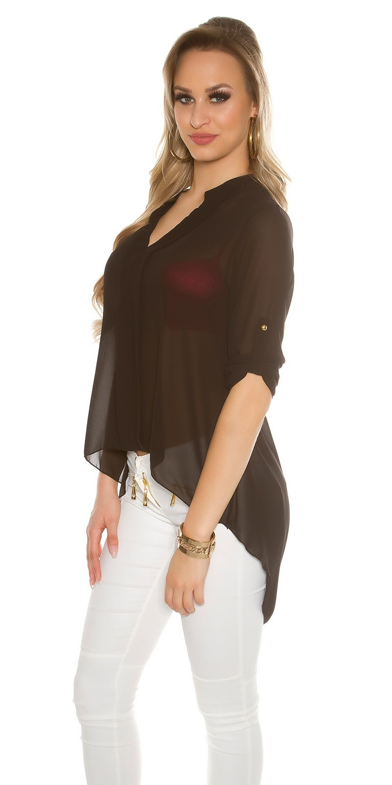 Sexy KouCla Chiffon High Low Blouse Black