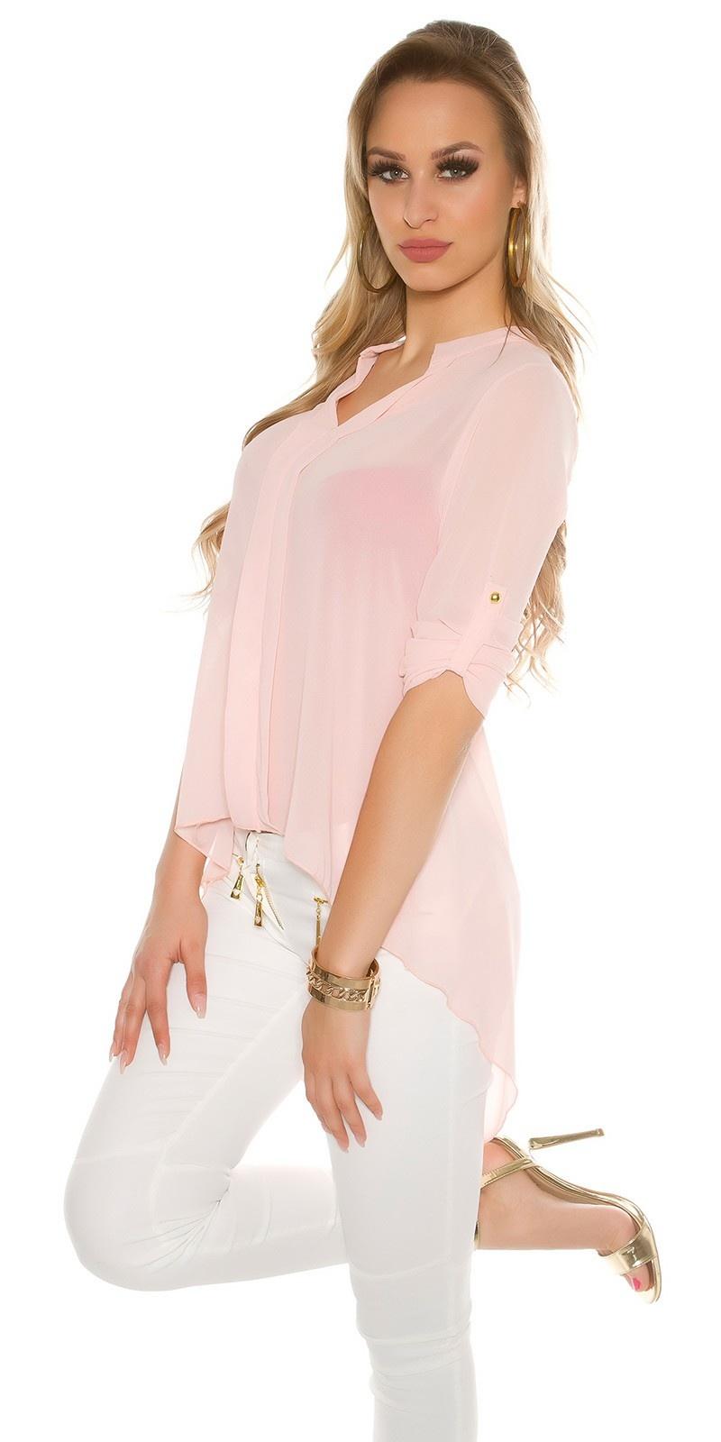 Sexy KouCla Chiffon High Low Blouse Pink