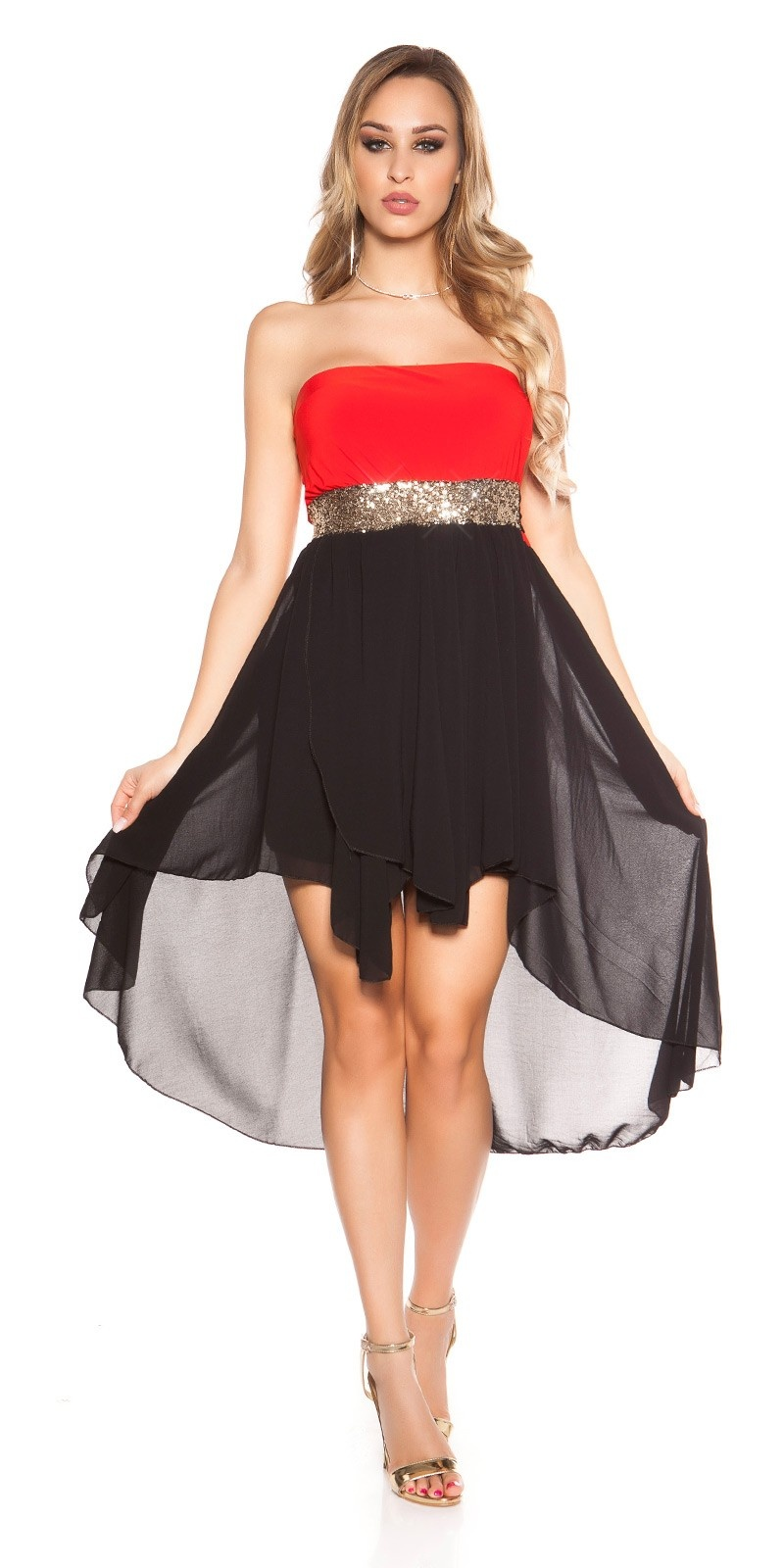 Sexy high-low dress with flounces Red