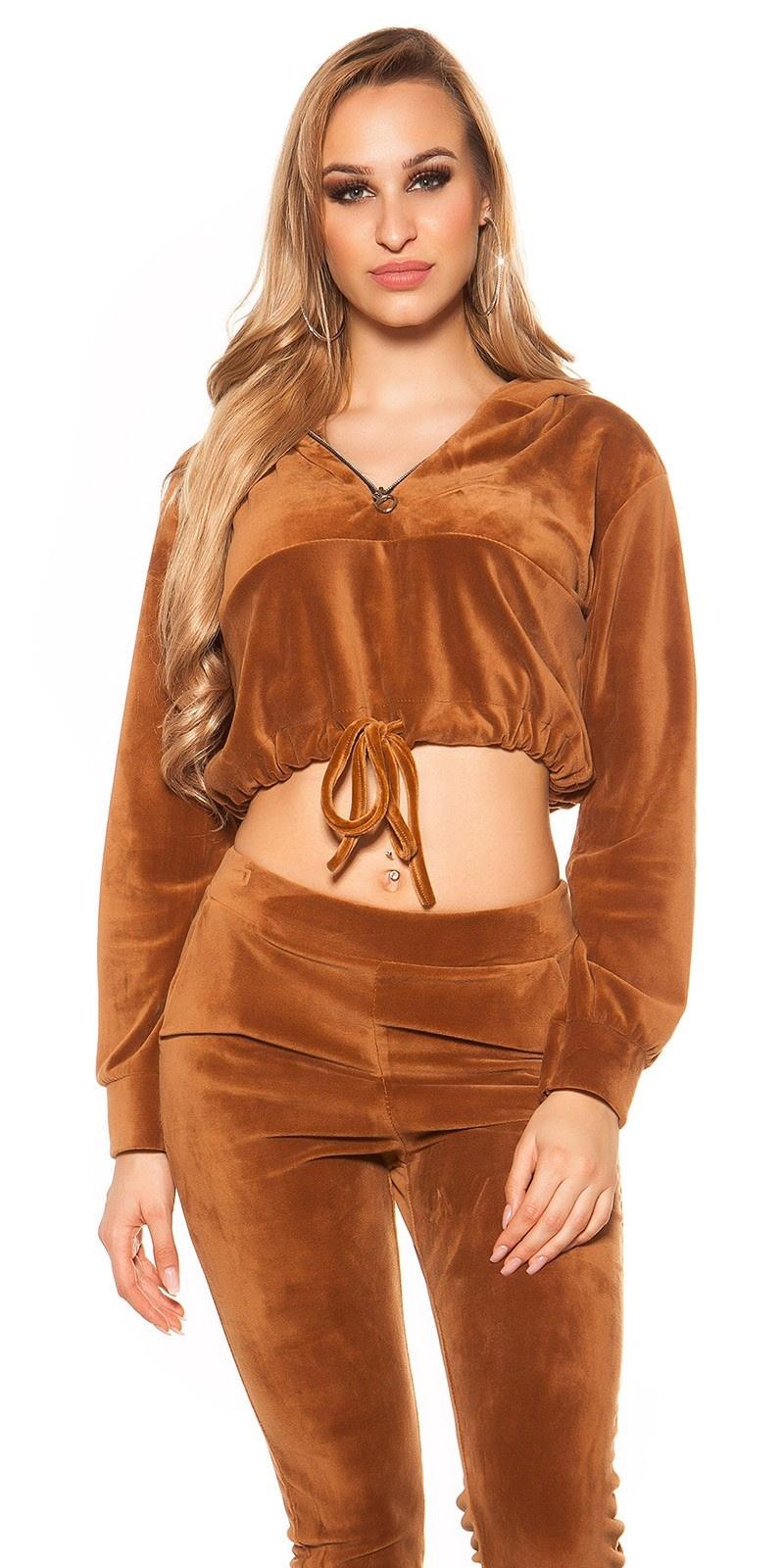 Trendy nicki crop sweater met capuchon bruin