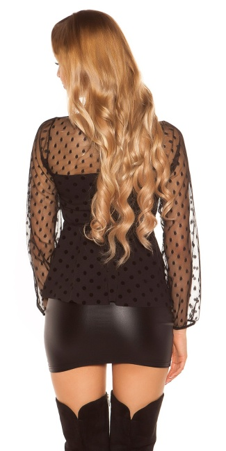 Sexy polkadot shirt with peplum Black