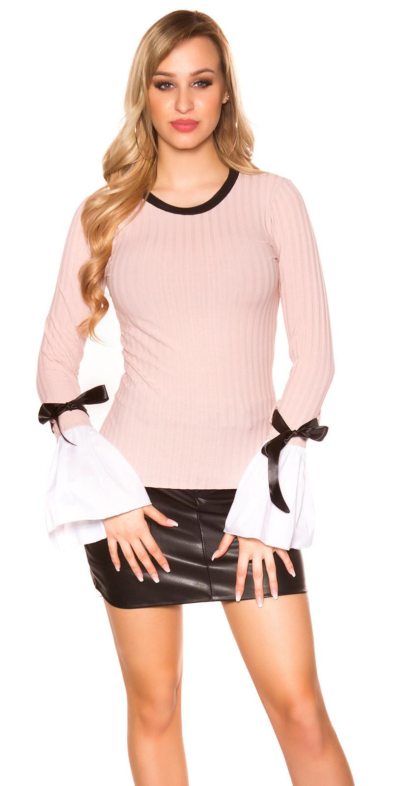 Trendy langmouw shirt met bel mouwen antiekroze
