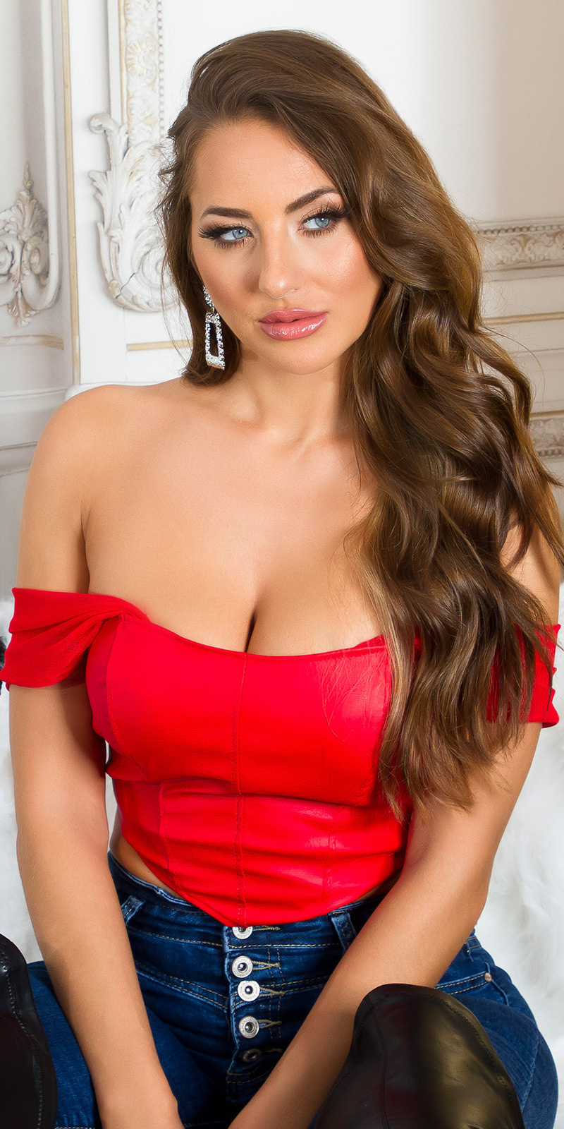 Sexy faux leder corset-top rood