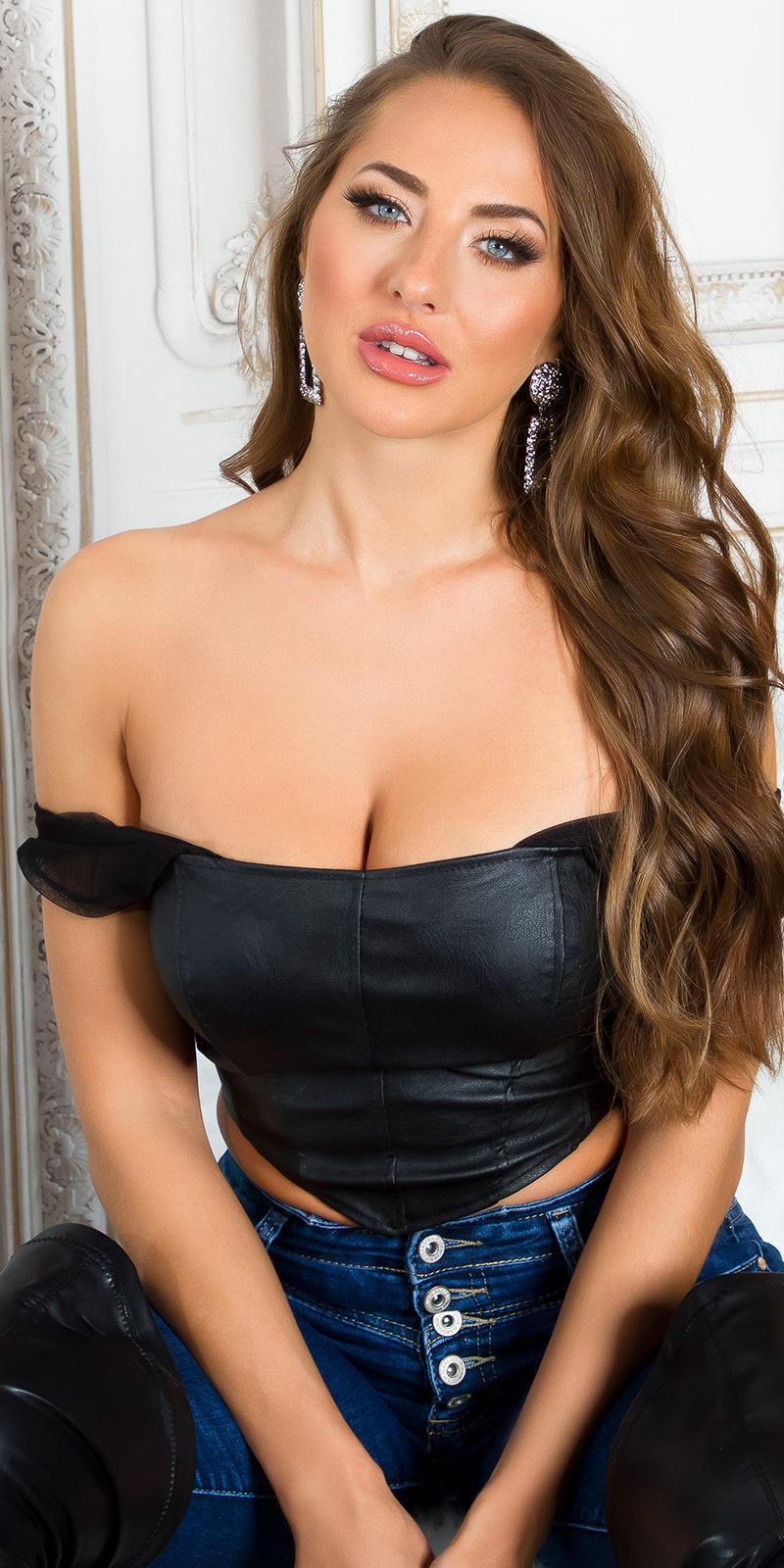 Sexy faux leder corset-top zwart