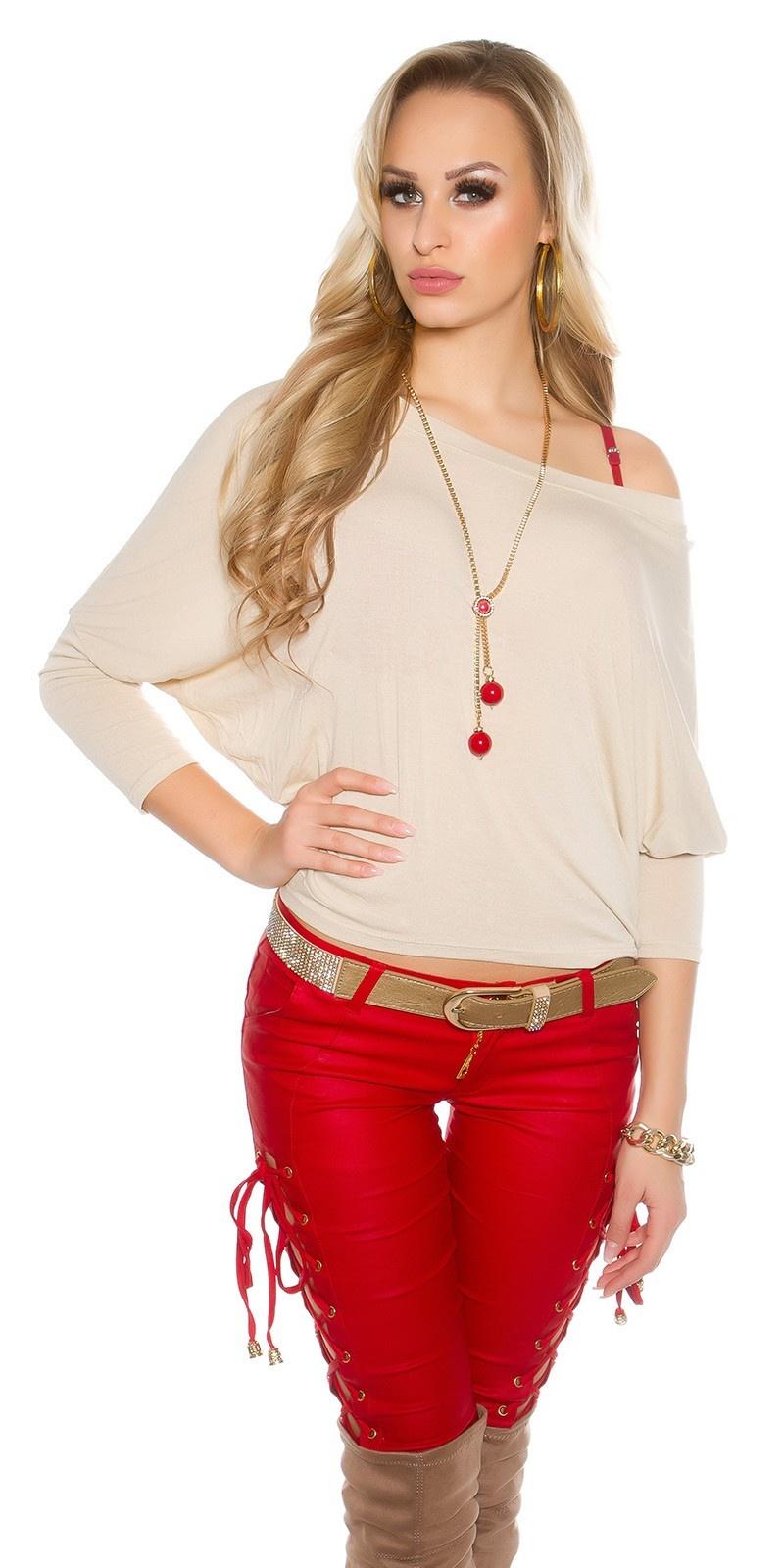 Trendy vleermuis-shirt met ketting beige