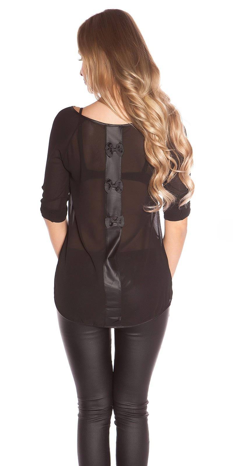 Trendy KouCla blouse with bows Black