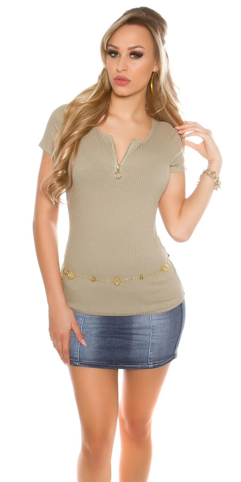 Sexy ripp basic shirt with sexy back lacing Khaki