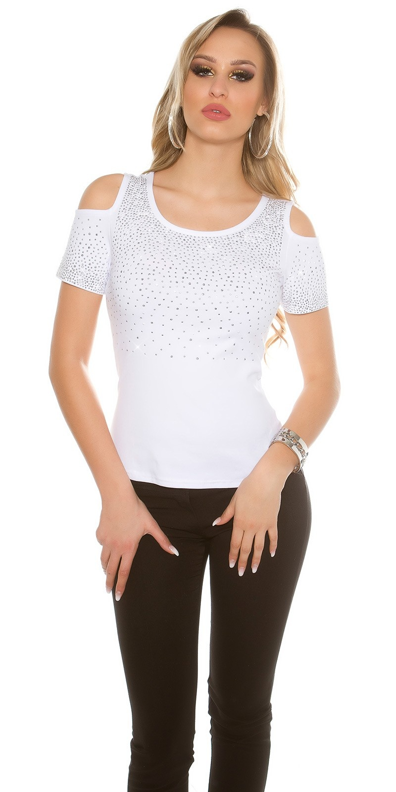 Sexy Coldshoulder T-shirt with glitter rivets White