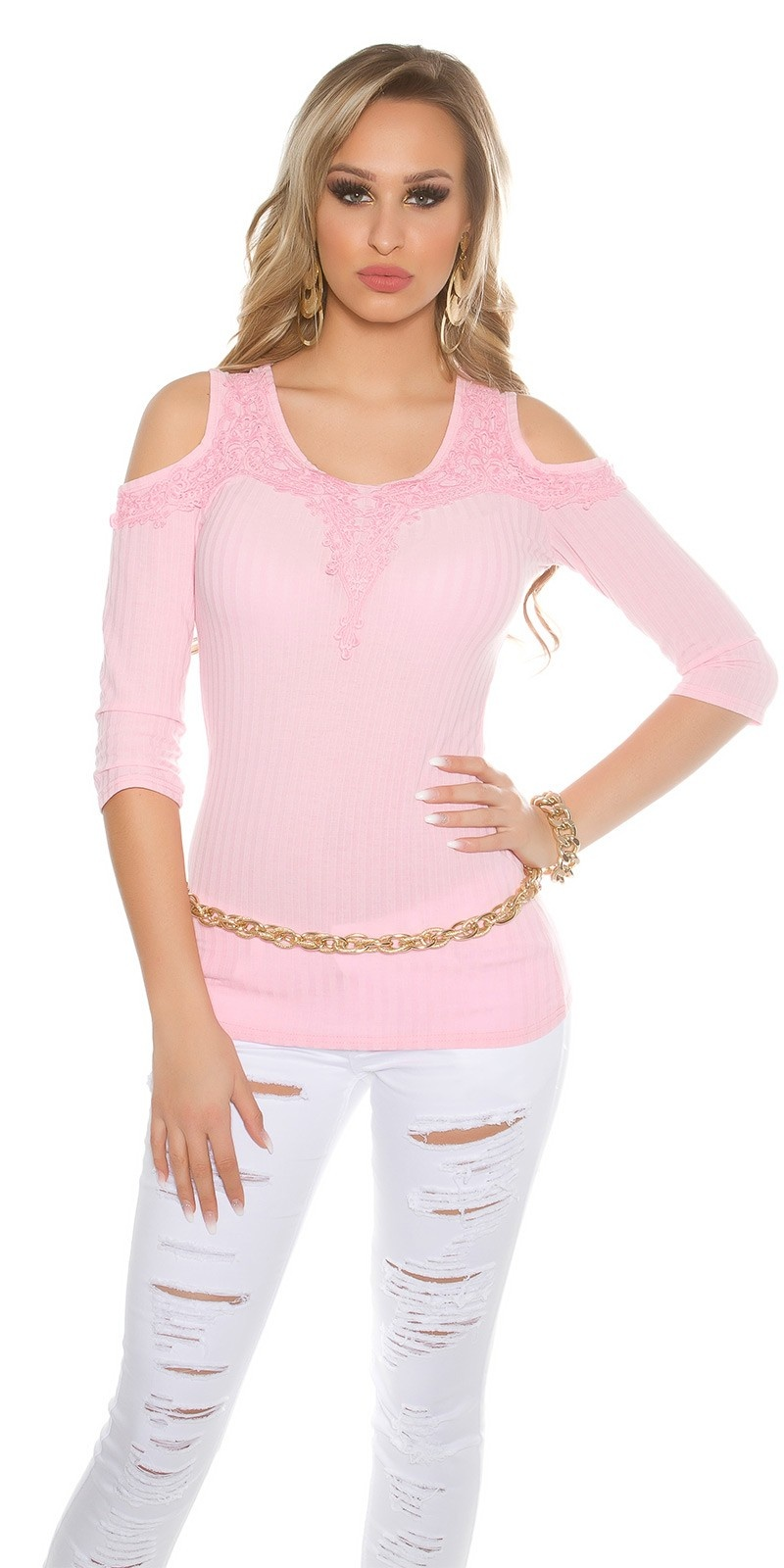 Sexy Cold Shoulder Shirt with embroidery Pink