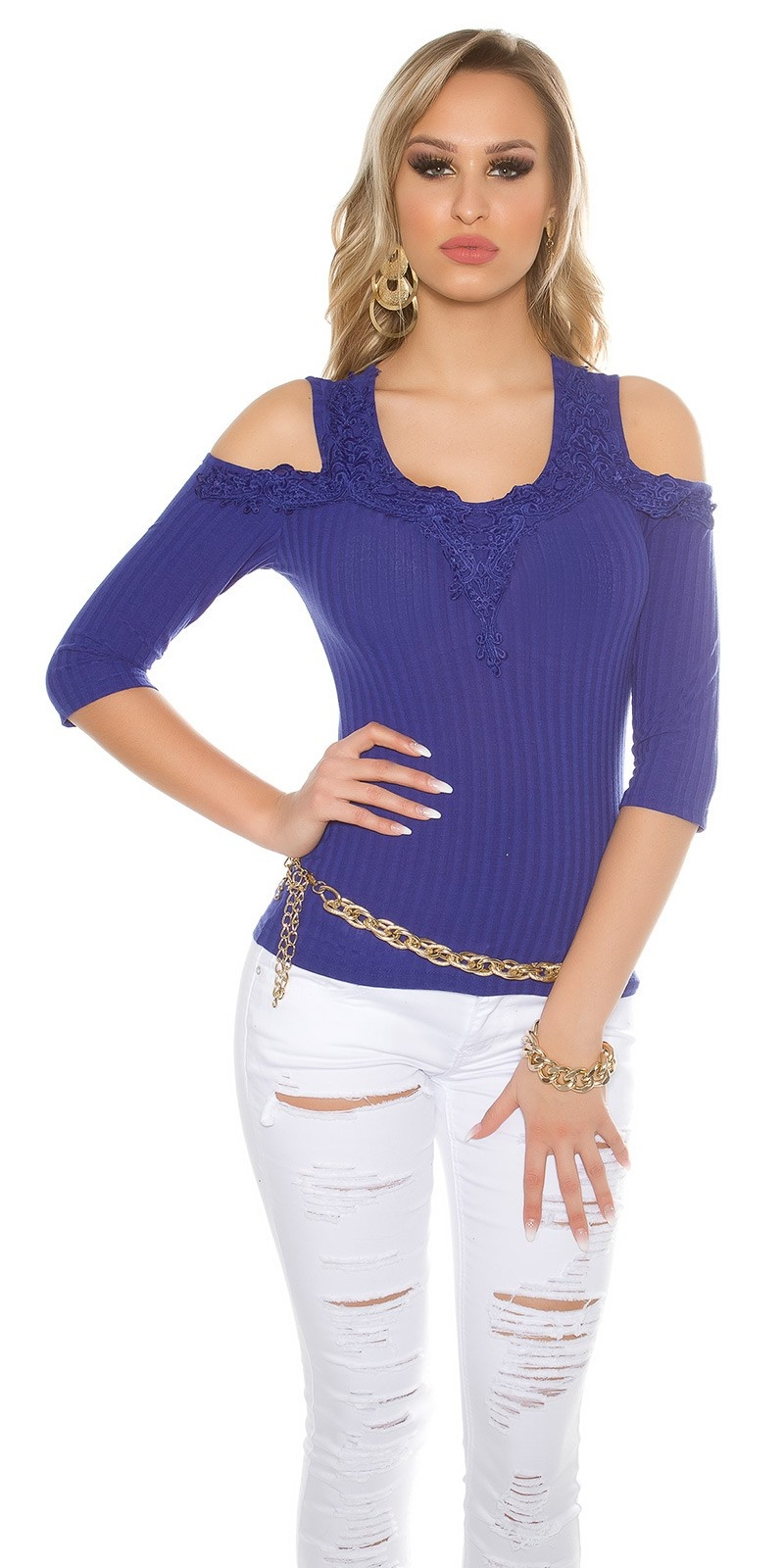 Sexy Cold Shoulder Shirt with embroidery Royalblue