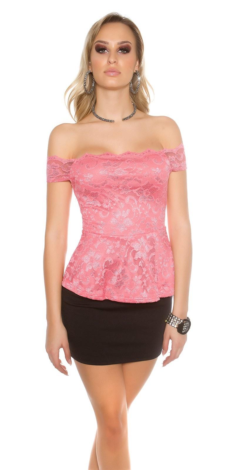Sexy KouCla lace latina top with peplum Coral