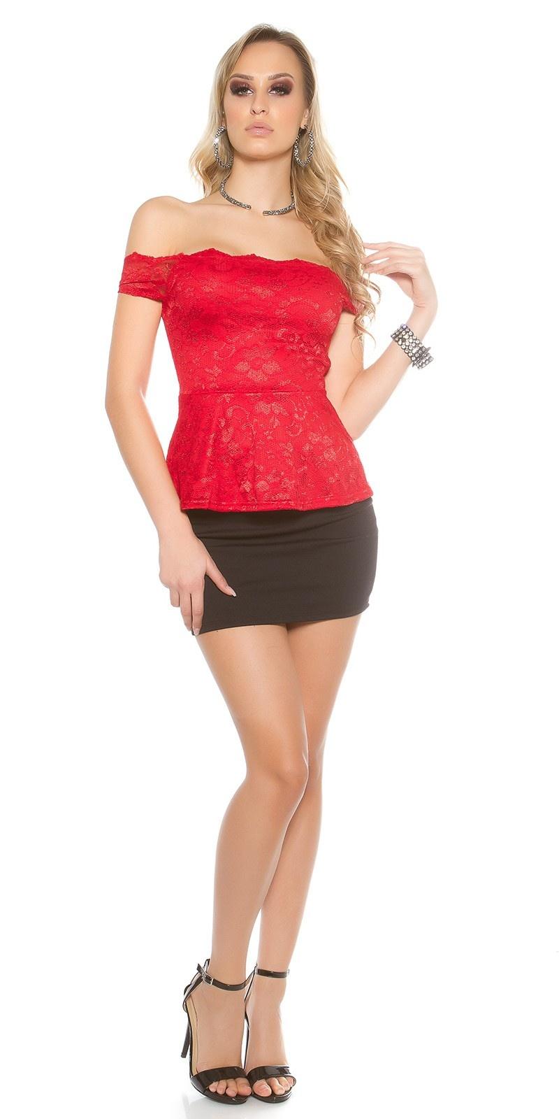 Sexy kant latina top met peplum rood