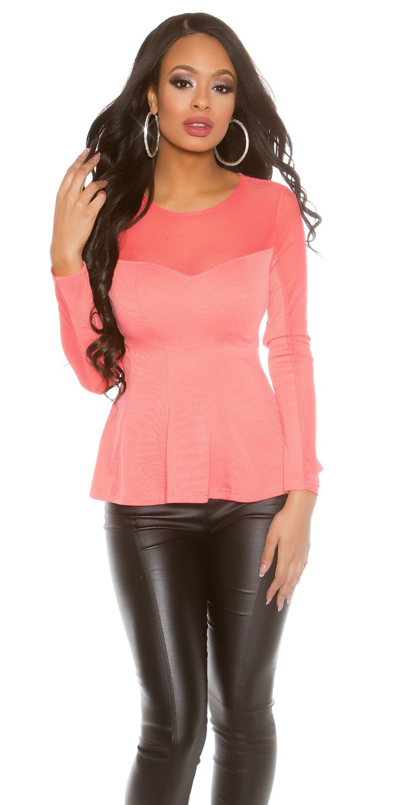 Sexy Koucla PartyShirt transparent with peplum Coral