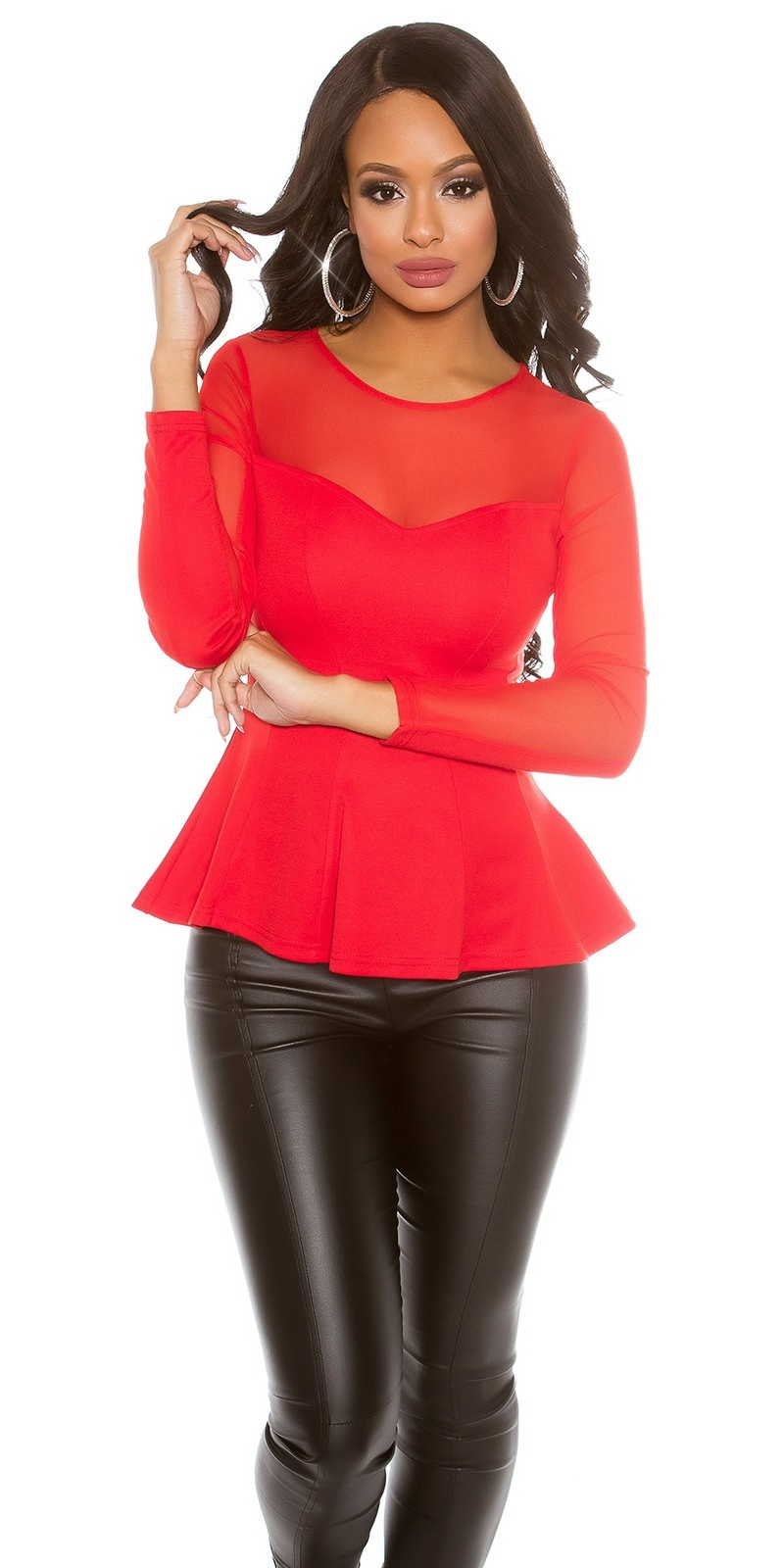 Sexy Koucla PartyShirt transparent with peplum Red