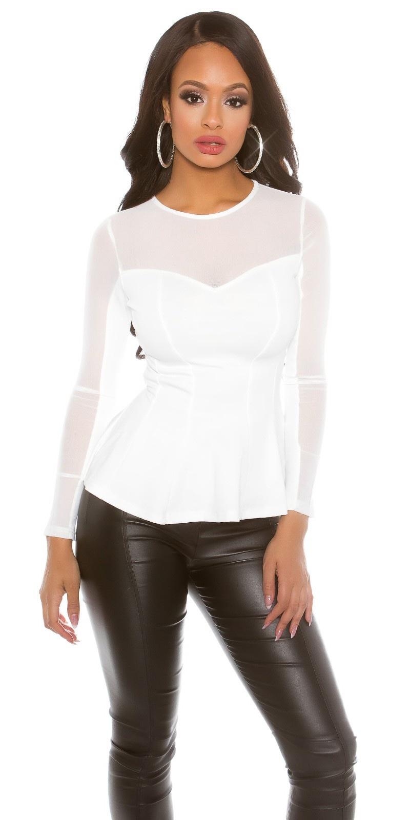 Sexy Koucla PartyShirt transparent with peplum White