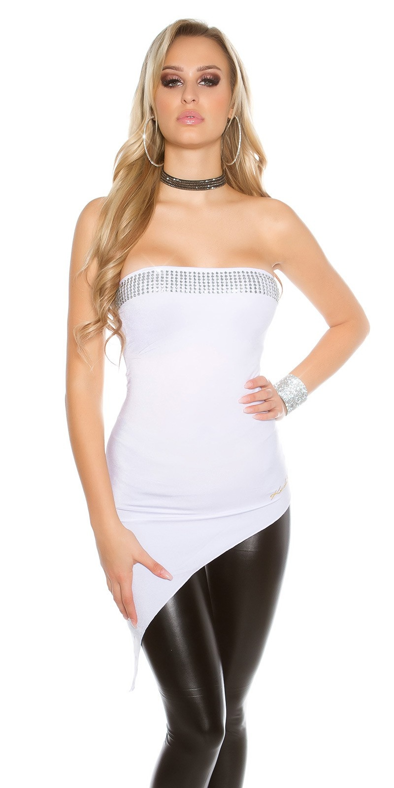 Sexy KouCla Bandeau Party Top with rhinestones White