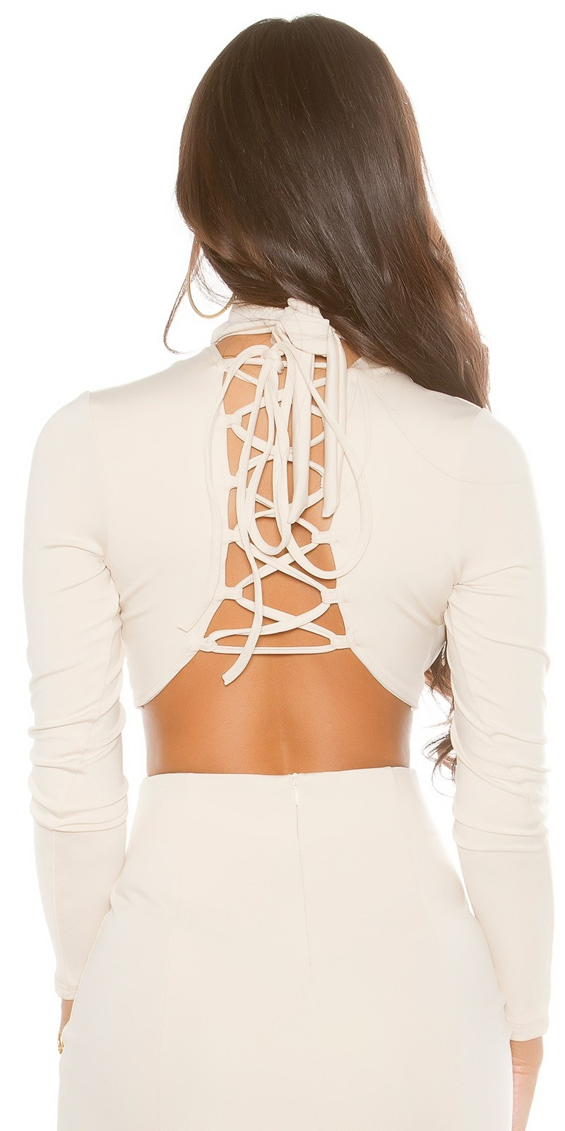 Sexy KouCla Long Sleeve Crop Shirt laced Beige