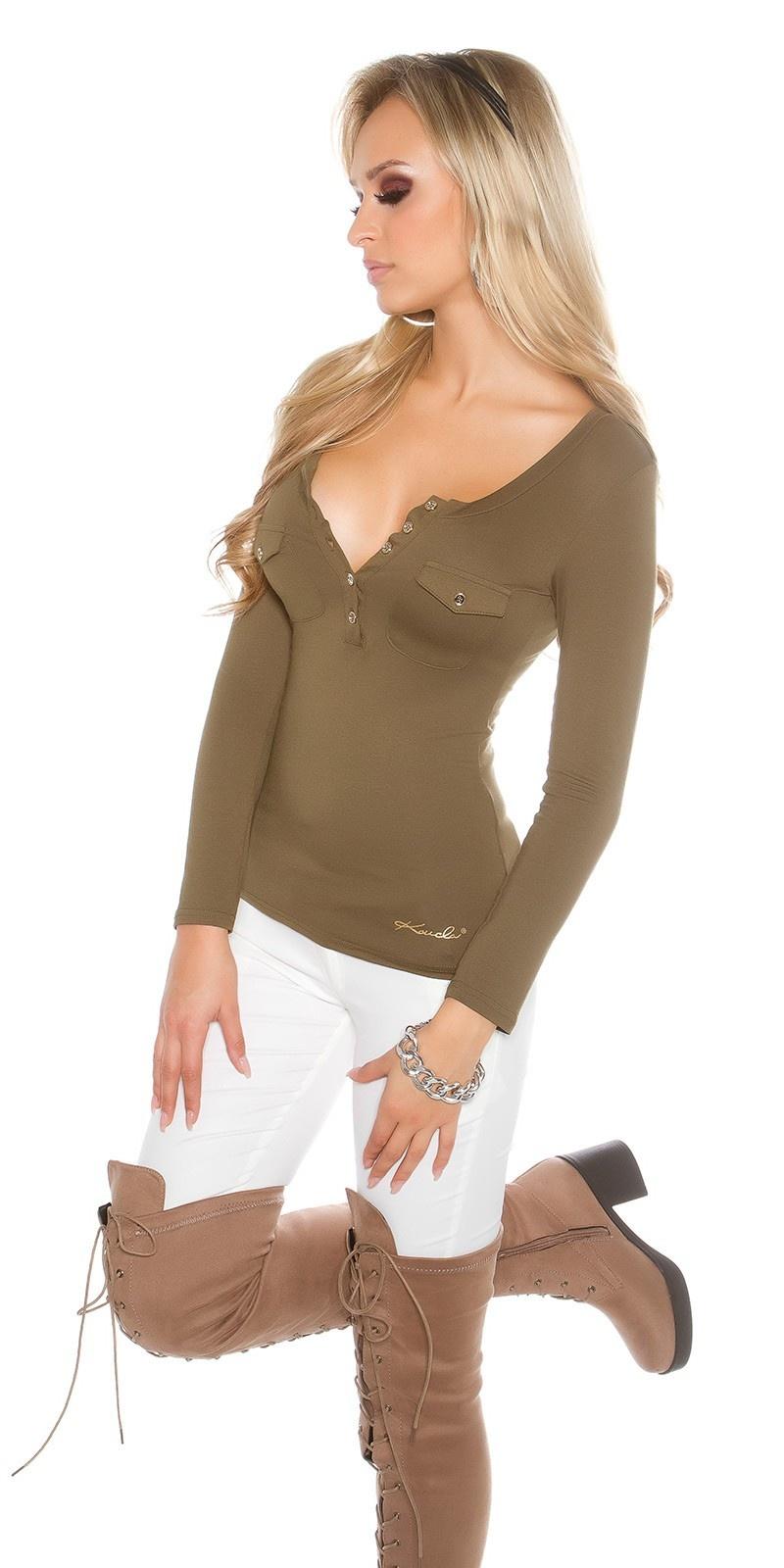 Sexy KouCla long sleeve shirt with buttons Khaki