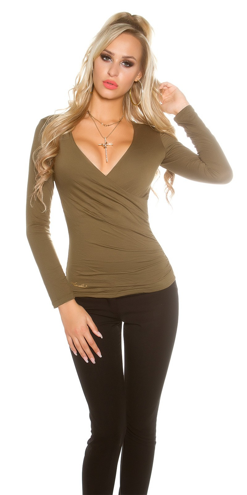 Sexy shirt in wikkel look khaki