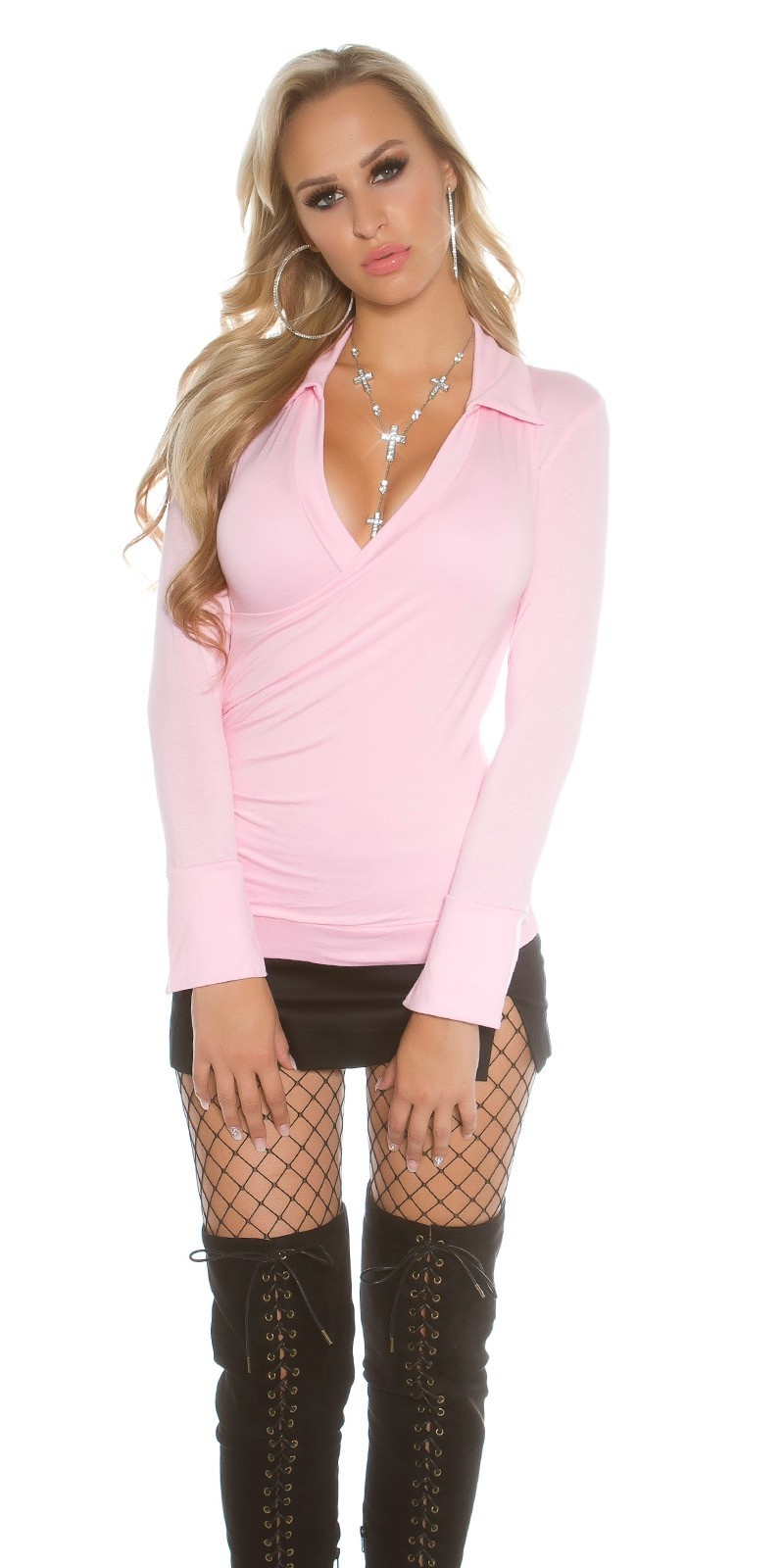 Sexy Koucla-Longsleeve sidewards ruffled Pink
