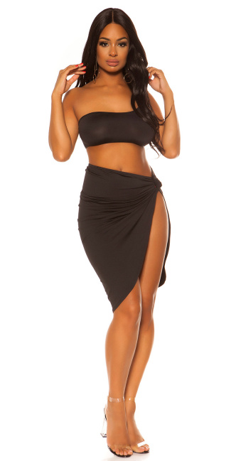 Sexy KouCla Cold Shoulder Crop Top Black