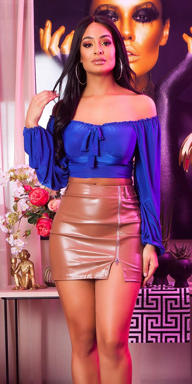 Sexy crop top latina look blauw