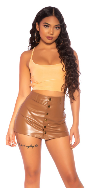 Sexy KouCla Crop Top backless to tie up Apricot