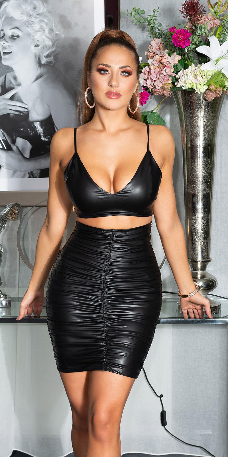 Sexy wetlook rok zwart