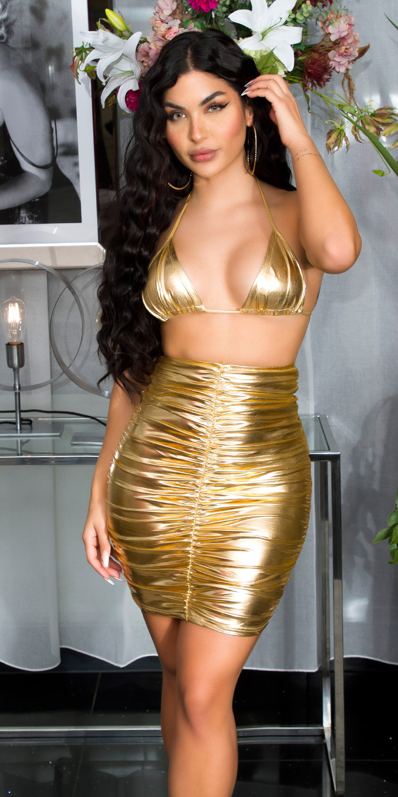 Sexy Koucla Gathered Latex-look Minidress Gold