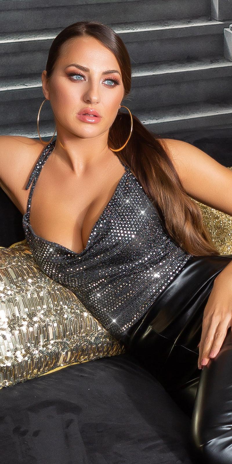 Sexy glitter top met waterval halslijn zwartzilver