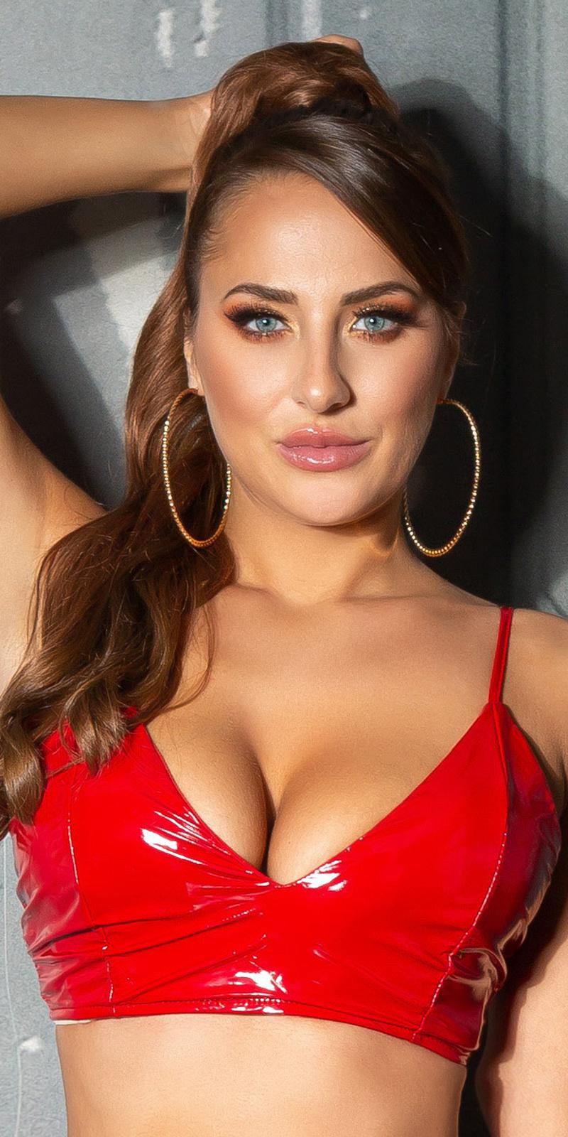 Sexy latex-look crop top/bustier rood