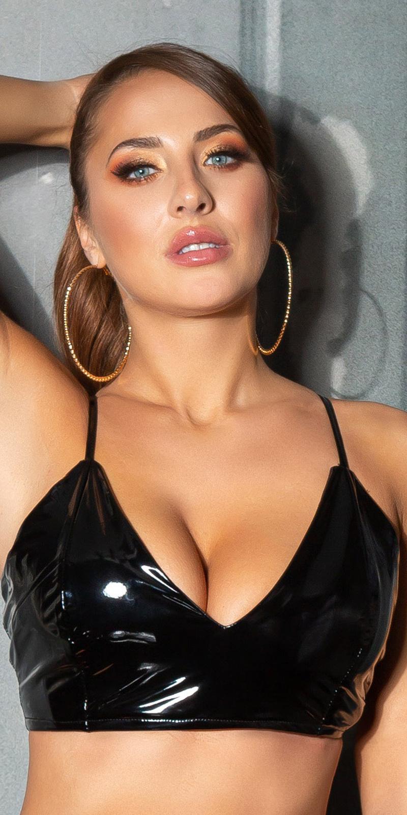 Sexy latex-look crop top/bustier zwart