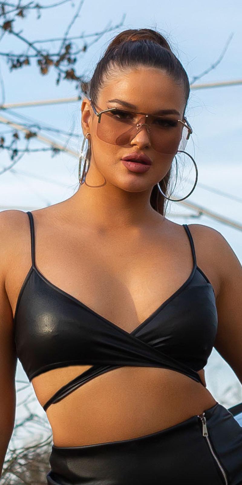 Sexy wetlook bustier-top zwart
