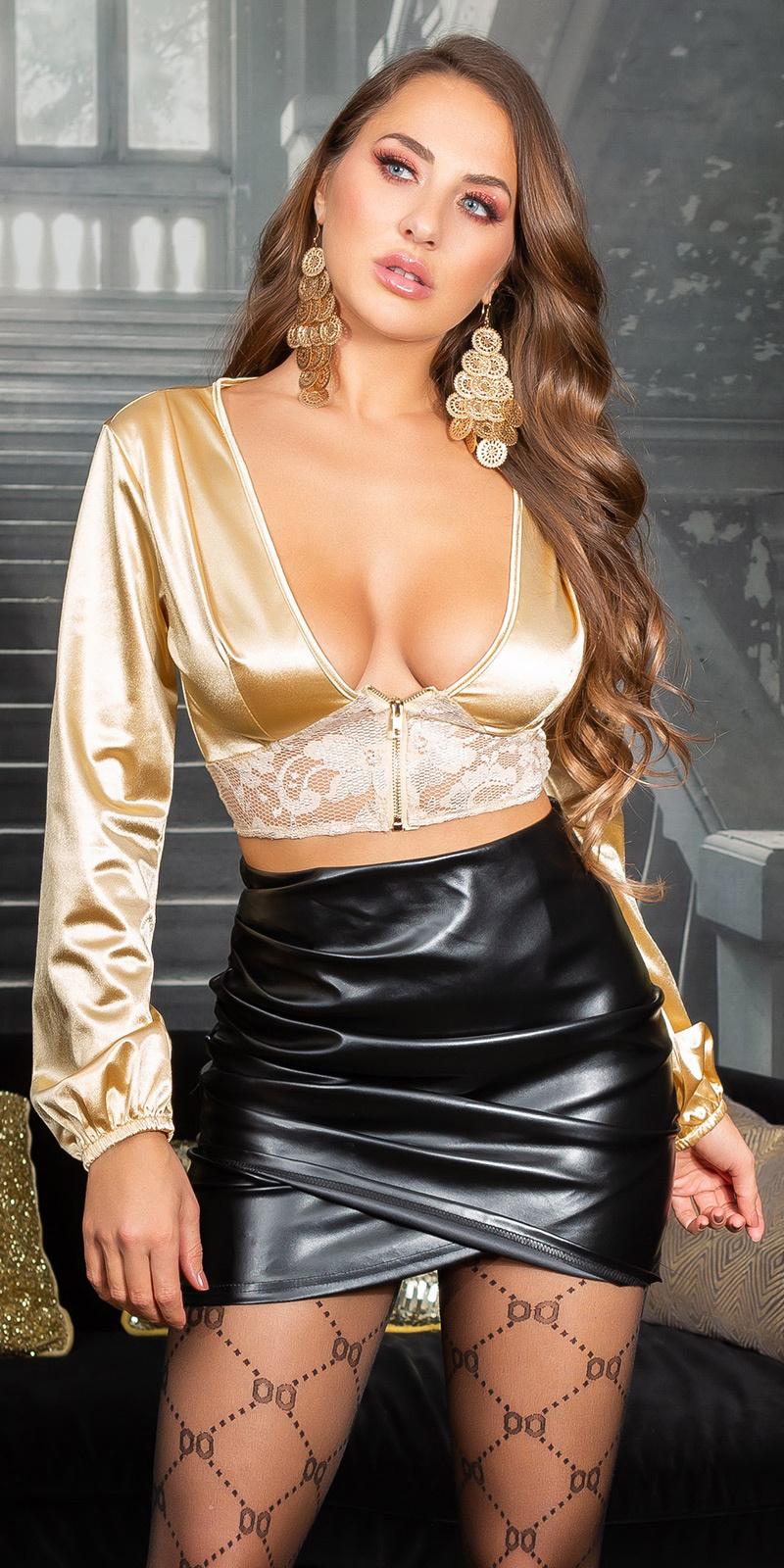 Sexy satijnlook crop top met kant detail goud
