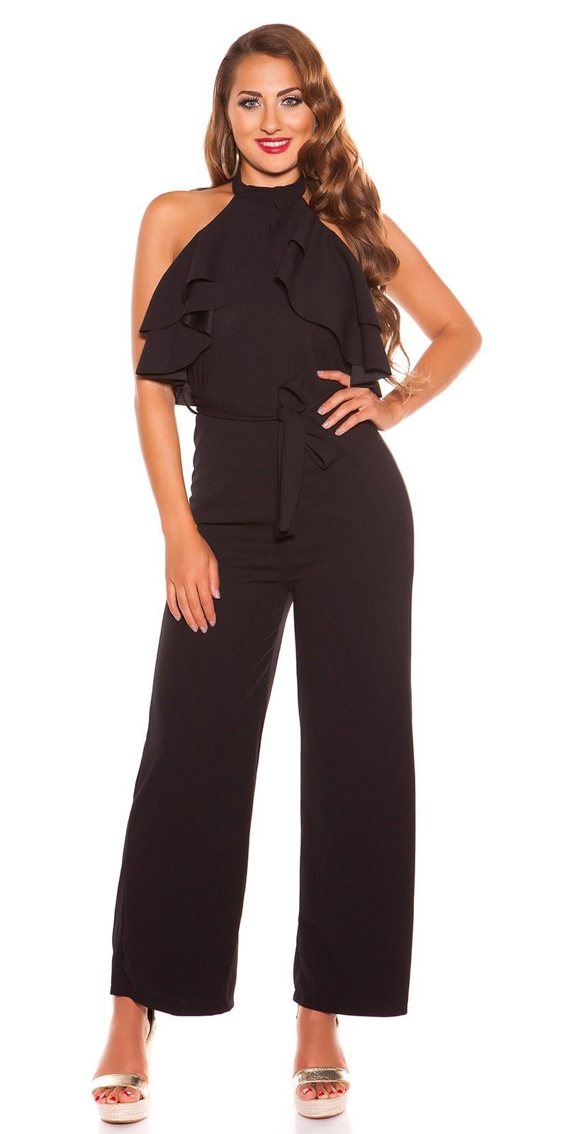 Sexy KouCla Neck jumpsuit with flounce Black