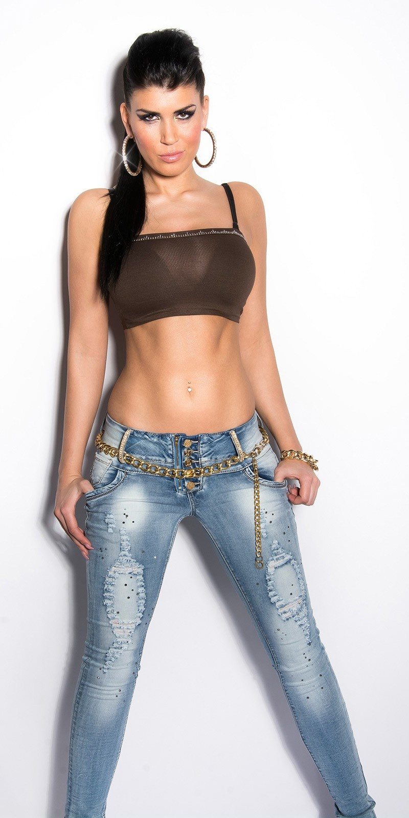 Sexy bandeau bustier with stones Brown