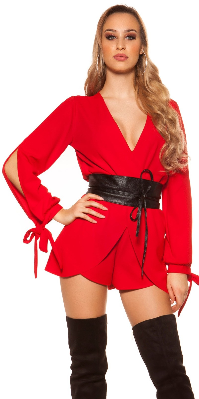 Sexy Longsleeve Jumpsuit Wrap Look Red