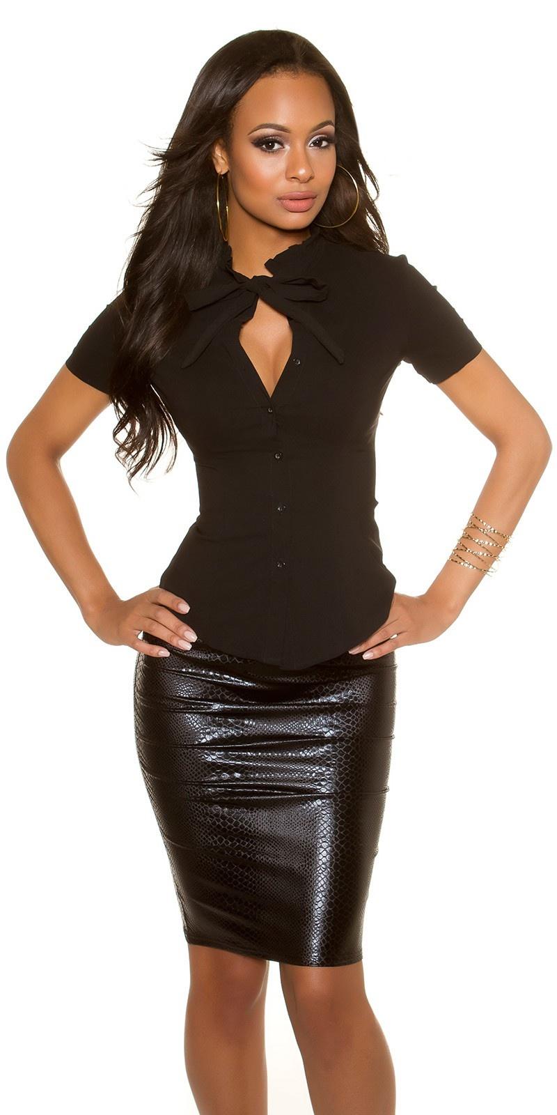 Sexy korte mouw blouse zwart