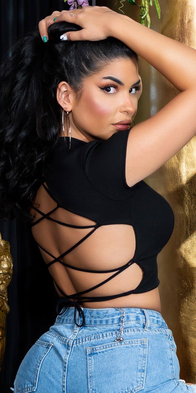Sexy open rug top zwart