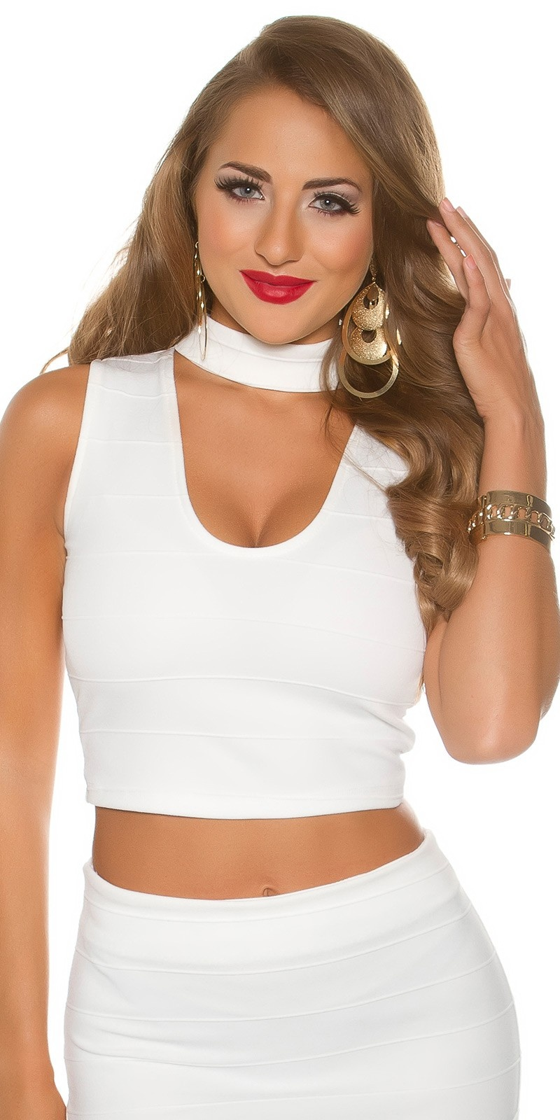 Sexy Crop Top V-Cut White