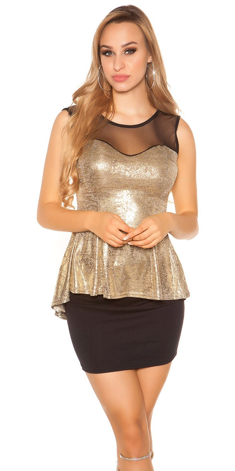 Trendy top with peplum and sexy insight Gold