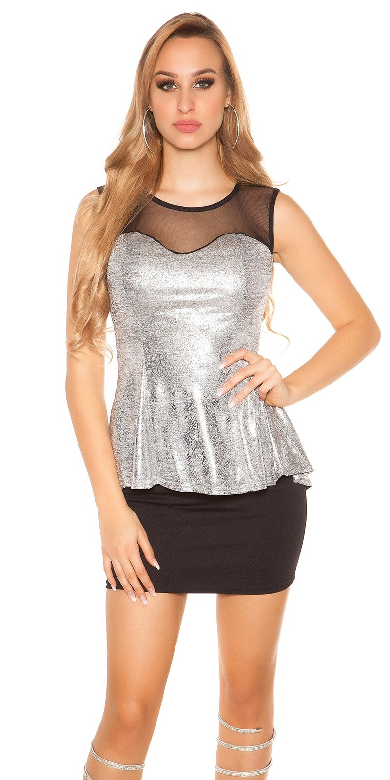 Trendy top with peplum and sexy insight Silver