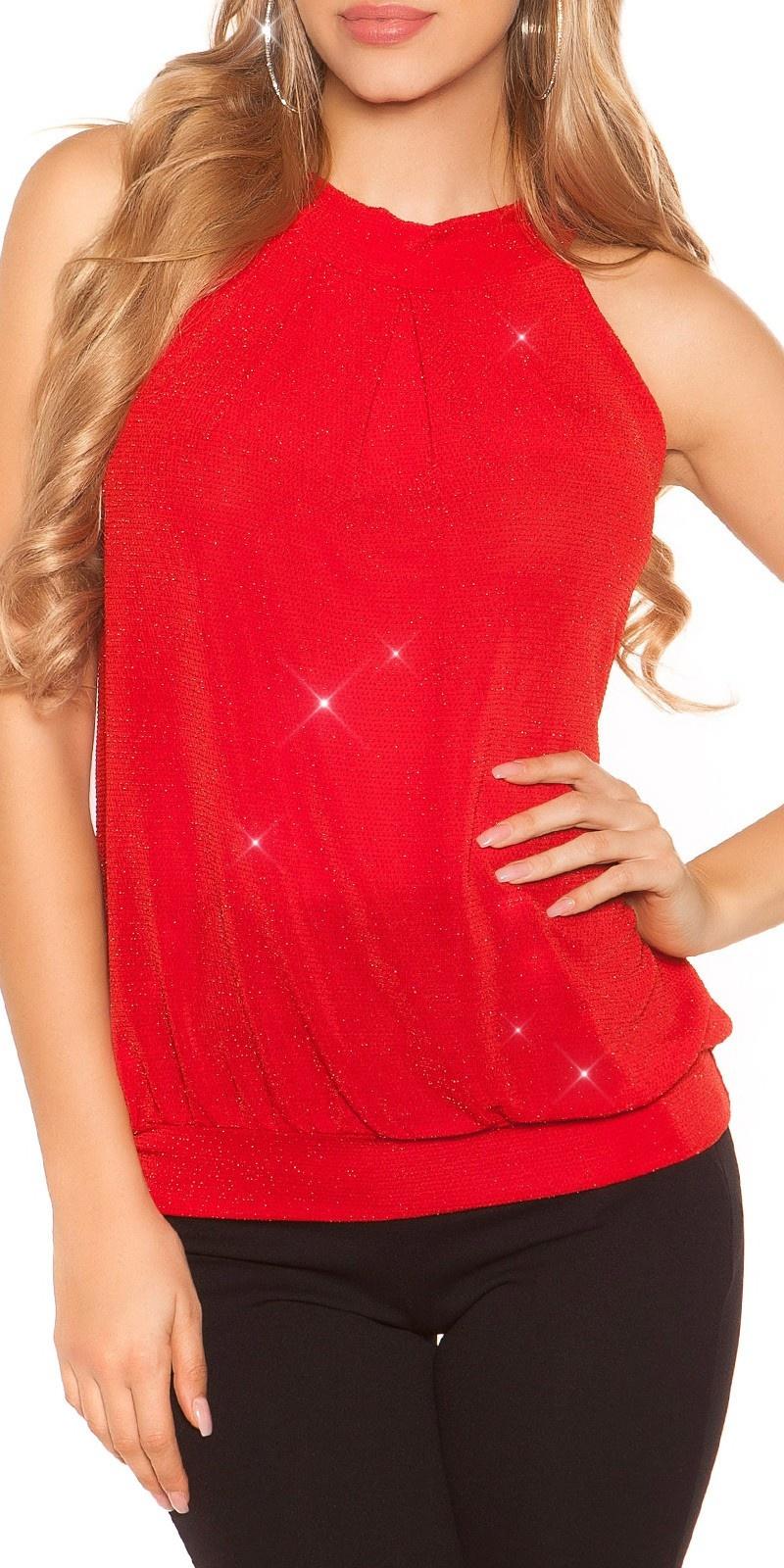 Sexy Neckholder Glittertop Red