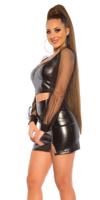 Sexy Leatherlook Longsleeve Top Black